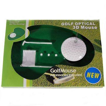 עכבר אופטי בצורת כדור גולף עם משטח ואביזרי משחק