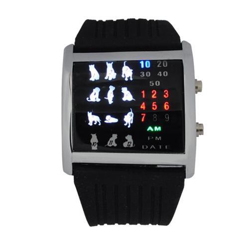 שעון לדים עם דמויות של חיות AT22