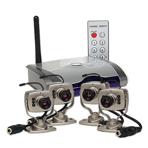 סט מיני מצלמות אבטחה אלחוטיות, עם רסיבר/מקלט