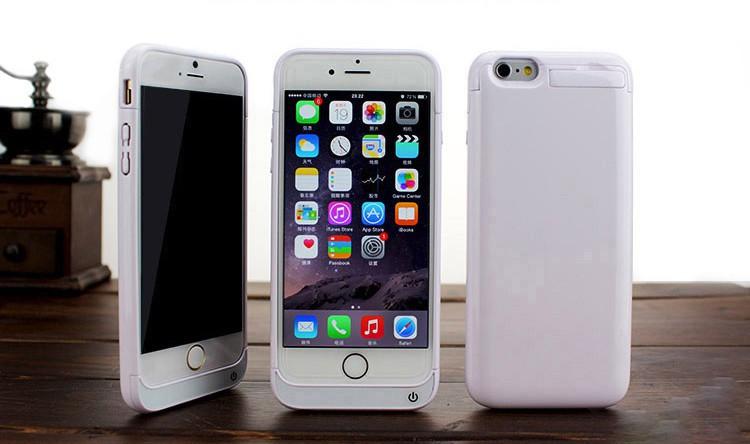 סוללת גיבוי לאייפון 6 משולבת בכיסוי הגנה קשיח - לבן