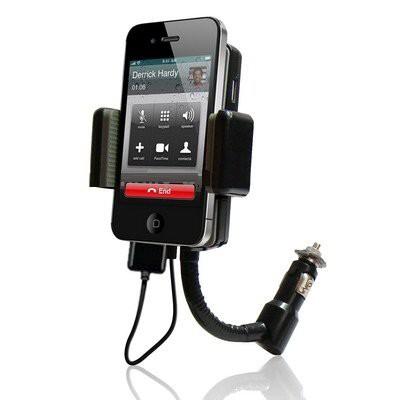 תושבת דיבורית FM למכשירי iPhone המשדרת שיחות טלפון ומוזיקה מהטלפון למערכת ברכב