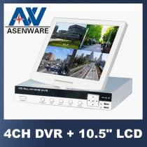 מערכת אבטחה DVR מושלמת ל 4 מצלמות הכוללת מסך נשלף