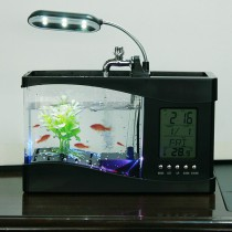 אקווריום עם שעון ומנורה בחיבור USB