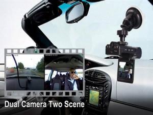 מצלמת אבטחה לרכב עם מסך ועדשה כפולה לצילום קדמי ואחורי כולל ראיית לילה DL2003